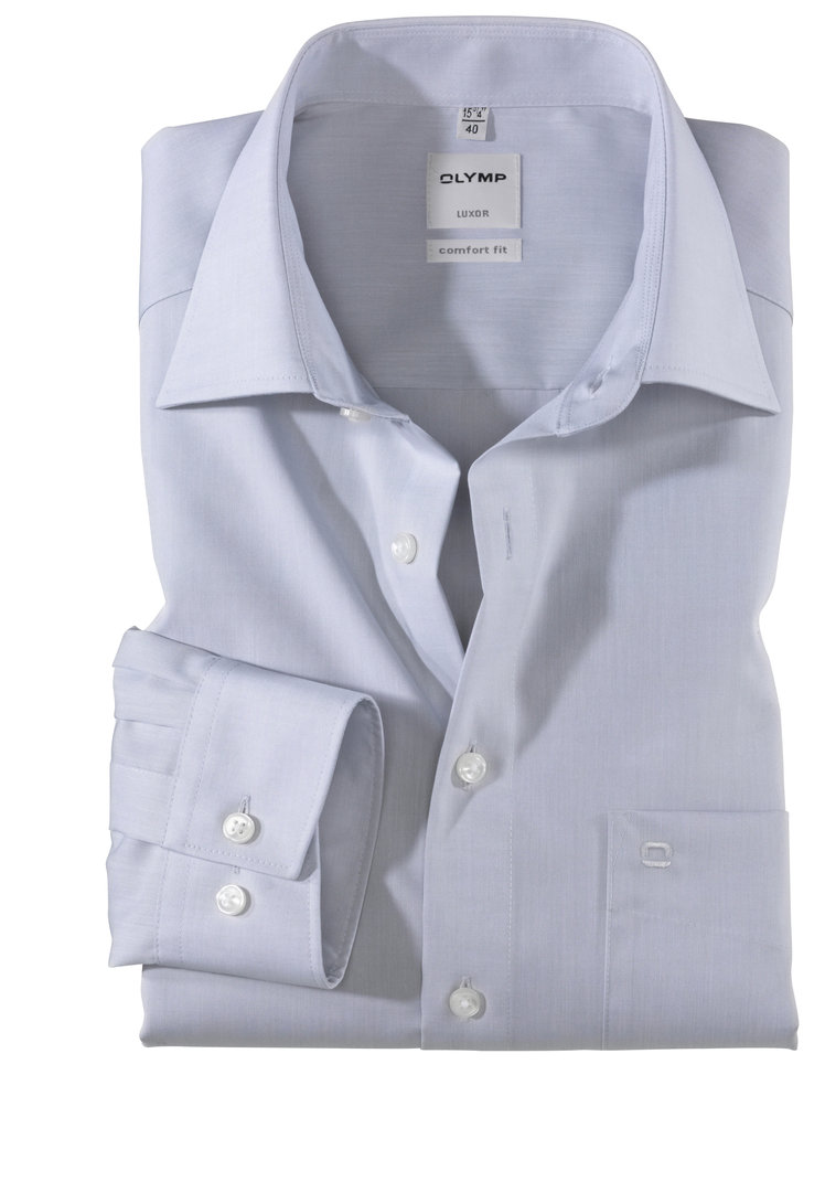 Olymp Luxor Hemd comfort fit - Kent - Farbe grau - Chambray